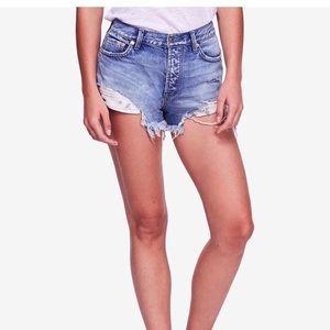 Free people cotton good vibrations denim shorts.
